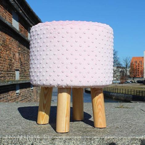 pufa różowe minky - 36 cm, puf, taboret, latasześćdziesiąte, minky, stołek
