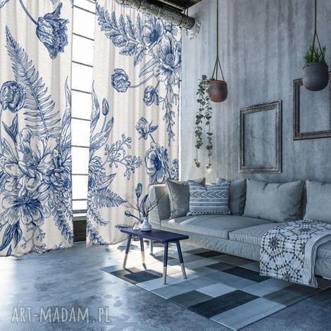 komplet baweŁnianych zasŁon flower blue - zasłony, kwiaty, zaciemniające