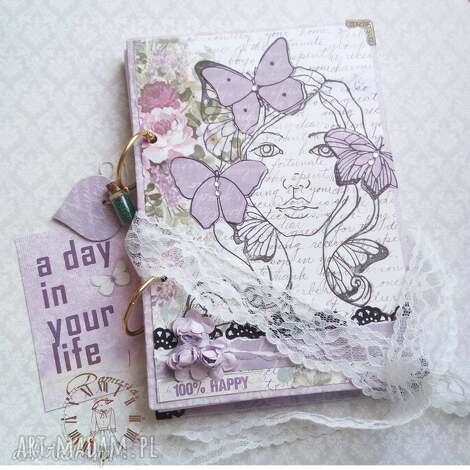notes urodzinowy/ happy 100, motyle, wiosna, dziewczyna, lawenda, róże, pamiętnik