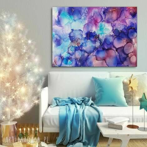 - purpurowa galaktyka obraz ręcznie malowany, abstrakcja 100x70 cm