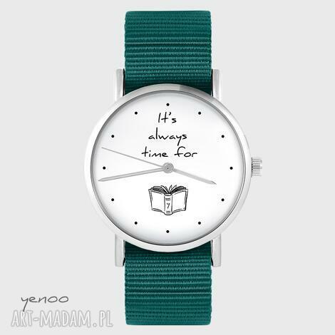 zegarek yenoo - time for book morski, nato, zegarek, pasek, książka