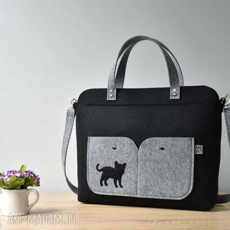 elegancka czarna filcowa torebka na laptopa z kotem, laptop, filc, kot, kotek