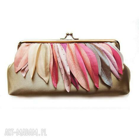 gold with coral, kopertówka, clutch, handbag kopertówki torebki, pod choinkę prezent