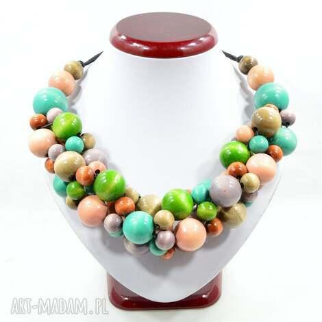 pastelowy mix kolia drewniana, korale, stal szlachetna - korale drewniane, elegancki