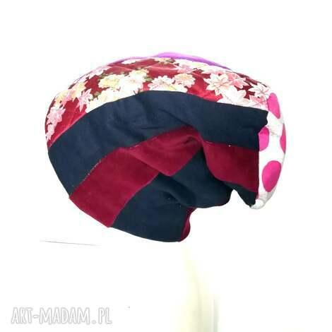 czapka patchwork smerfetka dresowa dzianina boho - czapka, etno, boho, grochy, kolorowa