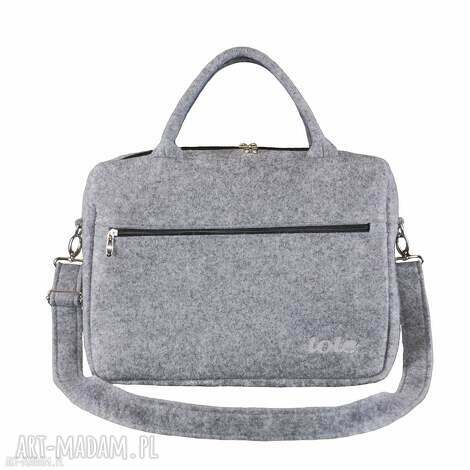 macfelt 13 - torba na laptop, szara, filc, filcowa, laptopa, haft, logo