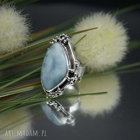 ocean blue - pierścionek z larimarem, pierścionek, larimar, srebro, regulowany