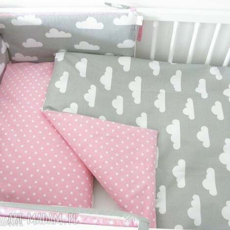 pokoik dziecka ochraniacz do łóżeczka różowo-szary groszki - chmurki,