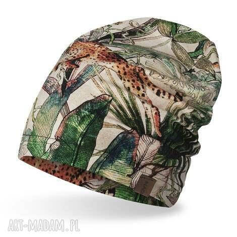 czapka dresowa smerfetka, krasnal czpak w gepardy, kolorowa czapka wiosenna,