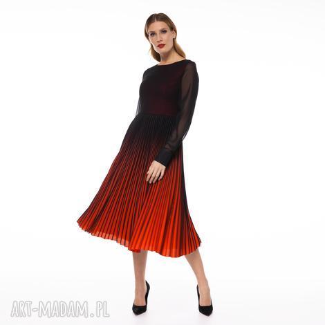 sukienka tabir, ombre plisowana, cioniowana, midi, elegancka, stylowa