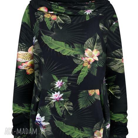 czarna bluza kangurka w kwiaty i liście z dużym kapturem golfem s - xl, dresowa