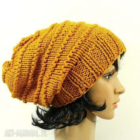 czapka ręcznie dziergana złoto-pomarańczowa - czapka, dziergana, ręcznie