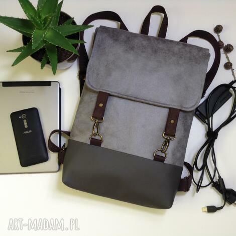 0570250e6b352 Szare torebki. Handmade plecak na laptopa