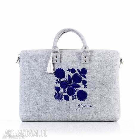 torba filcowa kwiat łowicki 410, filcowa, pojemna, modna, haftowana