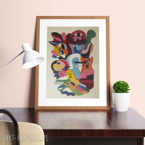 akwarela a4 cyrk kolorowa abstrakcja, dom dekoracje, obraz, grafika, wnętrze