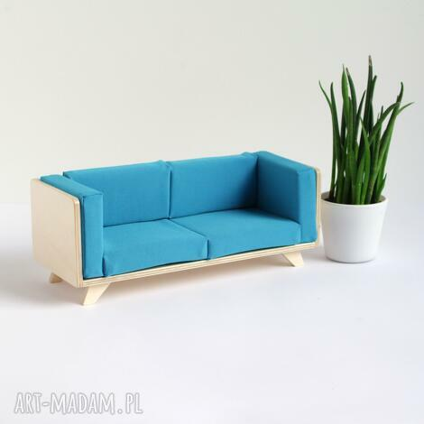 kanapa dla lalek wykonana ze sklejki - mebelki dla lalek, domek drewniane