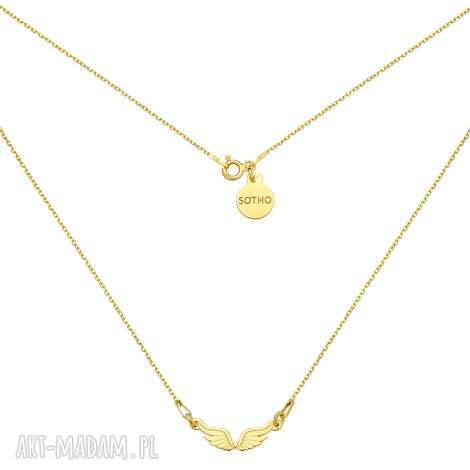 złoty naszyjnik ze skrzydełkami opis produktu, żółte, złoto