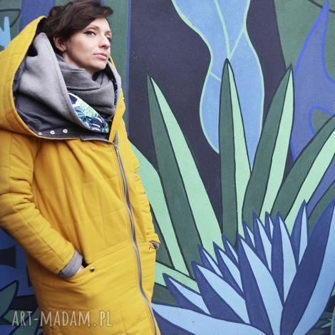 oversize żółta pikowana zimowa kurtka z duzym kapturem rozmiar s, kurtka