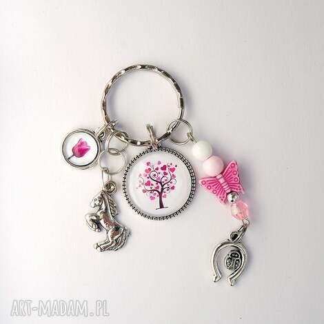 breloczek - drzewko, koń, tulipan, breloczek, do kluczy, motyl