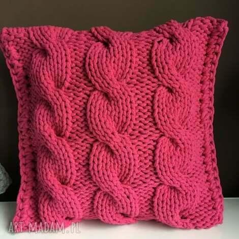 poduszki poduszka ze sznurka bawełnianego fuksja 40x40 cm - od ręki