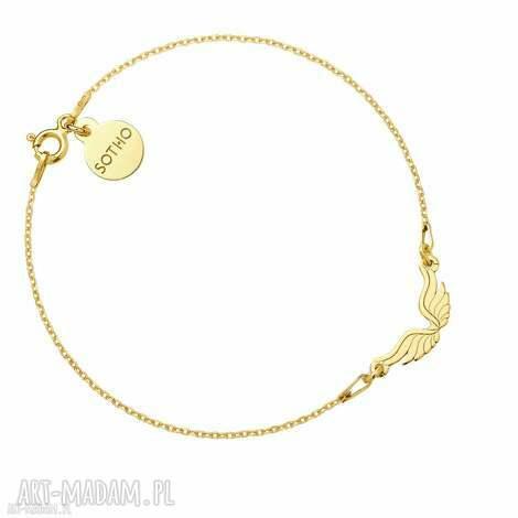 złota bransoletka ze skrzydełkami, bransoletka, modowa, skrzydełka, żółte