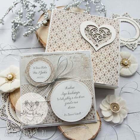 mrufru: piękna kartka w pudełku z okazji ślubu. personalizowany prezent ślubny
