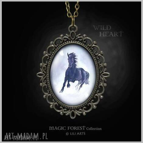 medalion, naszyjnik - czarny koń - antyczny brąz, ozdobny - naszyjnik, wisiorek