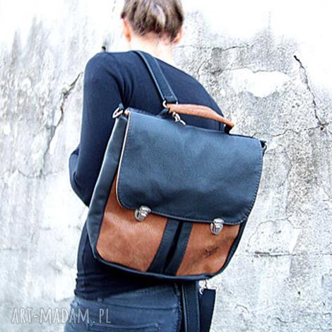 plecak / torba czarno-brązowa, plecak, torba, teczka, tornister, skóra, szkoła