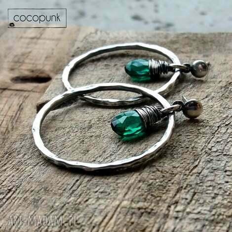kolczyki okrągłe - srebro i kwarc rama green, okrągłe, koła, srebro, szmaragdowe