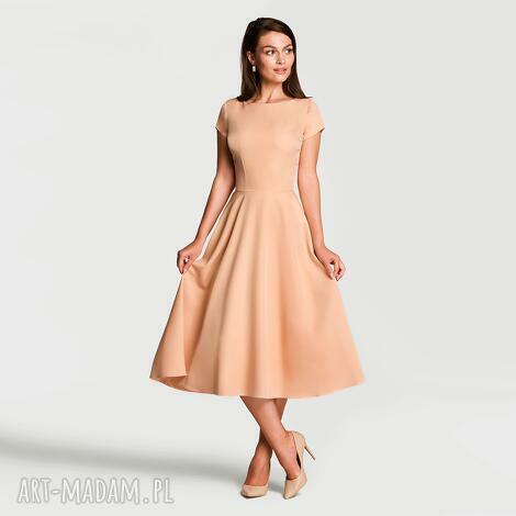 livia clue sukienka klara total midi morelowy, sukienka, midi, morelowy