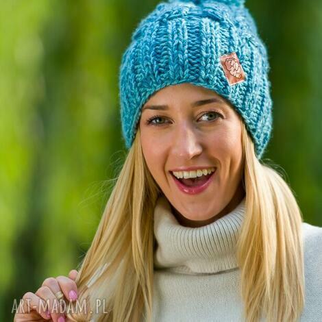 endorfina cieniowana niebo (czapka, wełniana, zimowa, wełna zima)