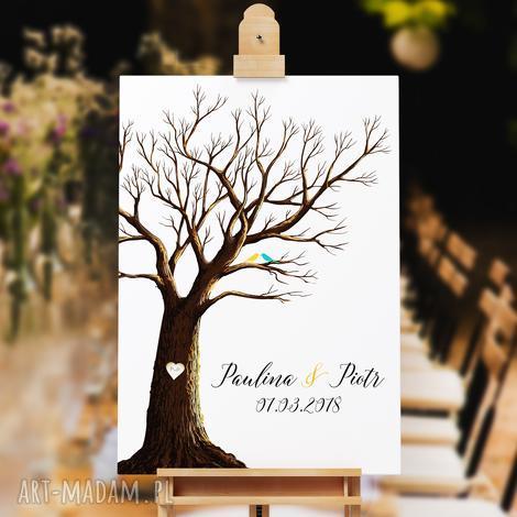 księgi gości rustykalne drzewo wpisów weselnych 50x70 cm 3 tusze, ślub