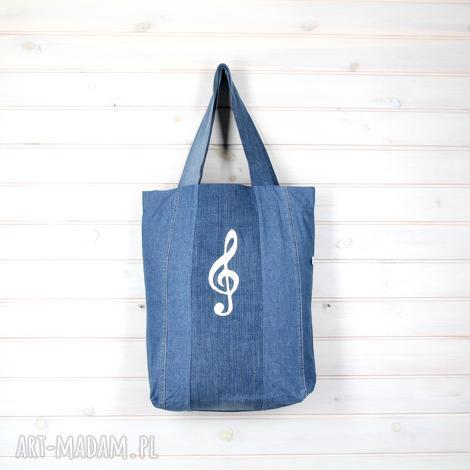 11f989ac17a25 godeco torba dżinsowa klucz wiolinowy muzyka, torba, dżinsowa, pojemna