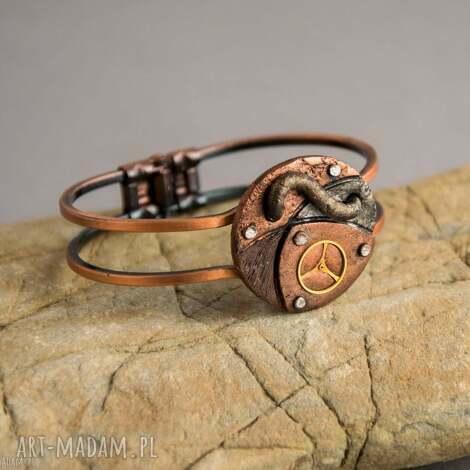 steampunkowa bransoletka, steampunk, naprezent, fimo, dlaniej, malowana