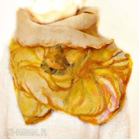 szal nuno filcowany, etola, wełna z merynosów