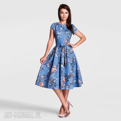 sukienka marie midi natalie, sukienka, midi, pasek, rozkloszowana, kwiaty, lato