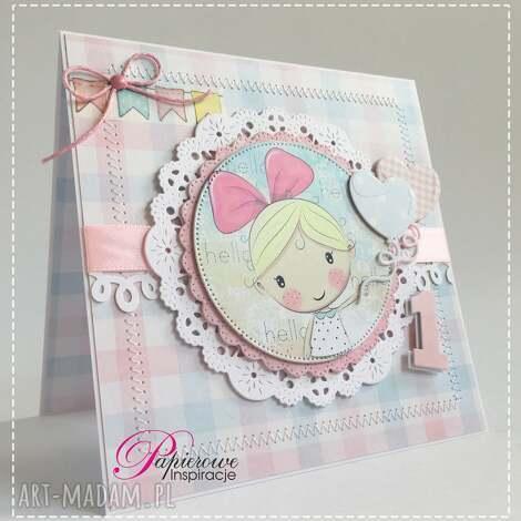 kartka urodzinowa na roczek dla dziewczynki 1 - kartka roczek, pierwsze urodziny, roczek