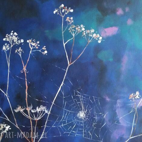 pajęczyna-obraz akrylowy formatu 40/50 cm, pajęczyna, obraz, akryl, trawy