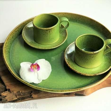 Ceramika Tyka: patera taca ceramiczna plus filiżanki 2 szt, ceramika talerz, filiżanka
