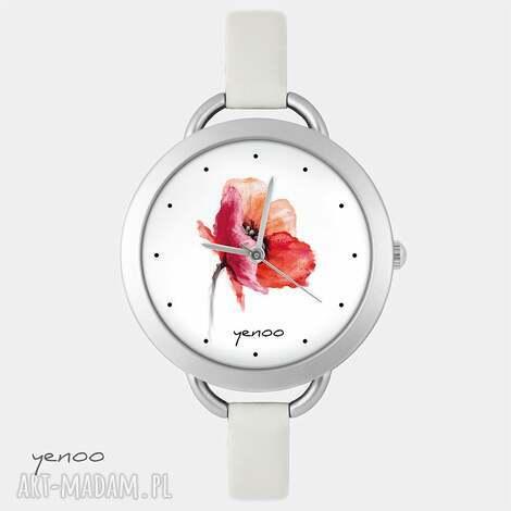 zegarek - mak, kwiat - zegarek, bransoletka, skórzany, mak, kwiat, prezent