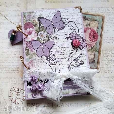 notes urodzinowy/ 100 happy, motyle, wiosna, dziewczyna, lawenda, róże, pamiętnik