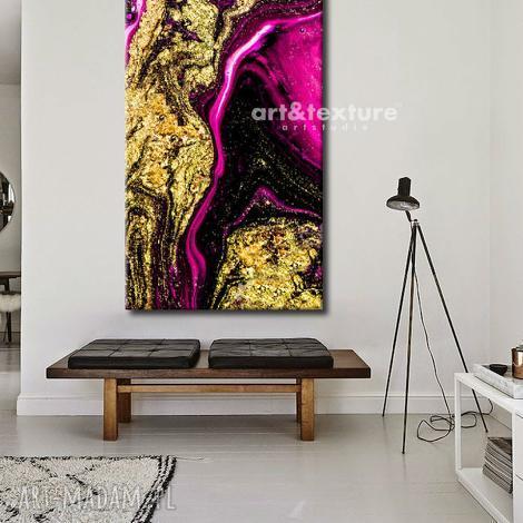 dekoracje złocona fuksja - abstrakcyjne obrazy do modnego salonu, modne