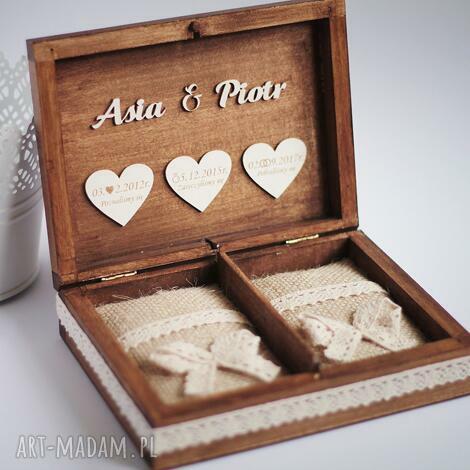 biala konwalia pudełko na obrączki 3 serca, pudełko, obrączki, drewno