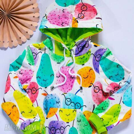 owocowa bluza kangurka z kapturem 98-122, kangurka, dziecięca
