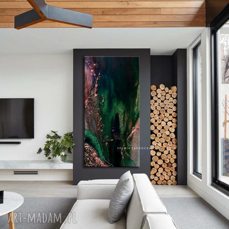 stylowe obrazy do salonu - szmaragd z miedzią - szmaragdowy obraz, abstrakcyjny obraz