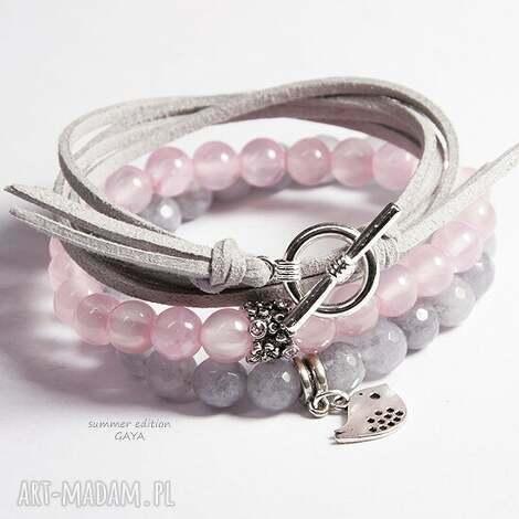 bransoletki light grey pink, kamienie, kule, zawieszki, rzemienie, komplet, prezent