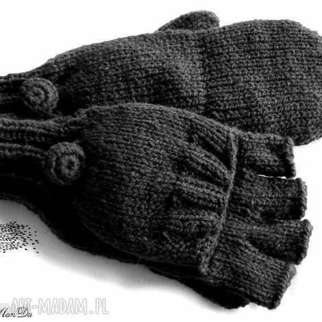MonDu: bezpalczatki z klapką 4 rękawiczki, mitenki, jednopalczaste dziergane, wełna