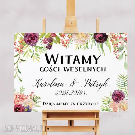 zaproszenia kwiecisty obraz powitalny gości weselnych 50x70 cm, wesele, ślub