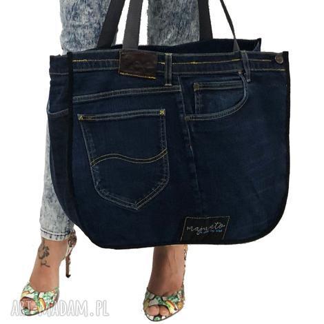 duża torba upcykling jeans 40 lee od majunto, upcykling, jeans, upcycling