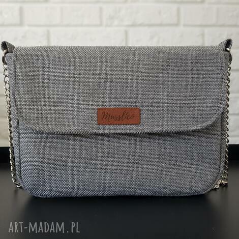 mini w melanżu szarości i beżu, torba, torebka, prezent dla kobiety